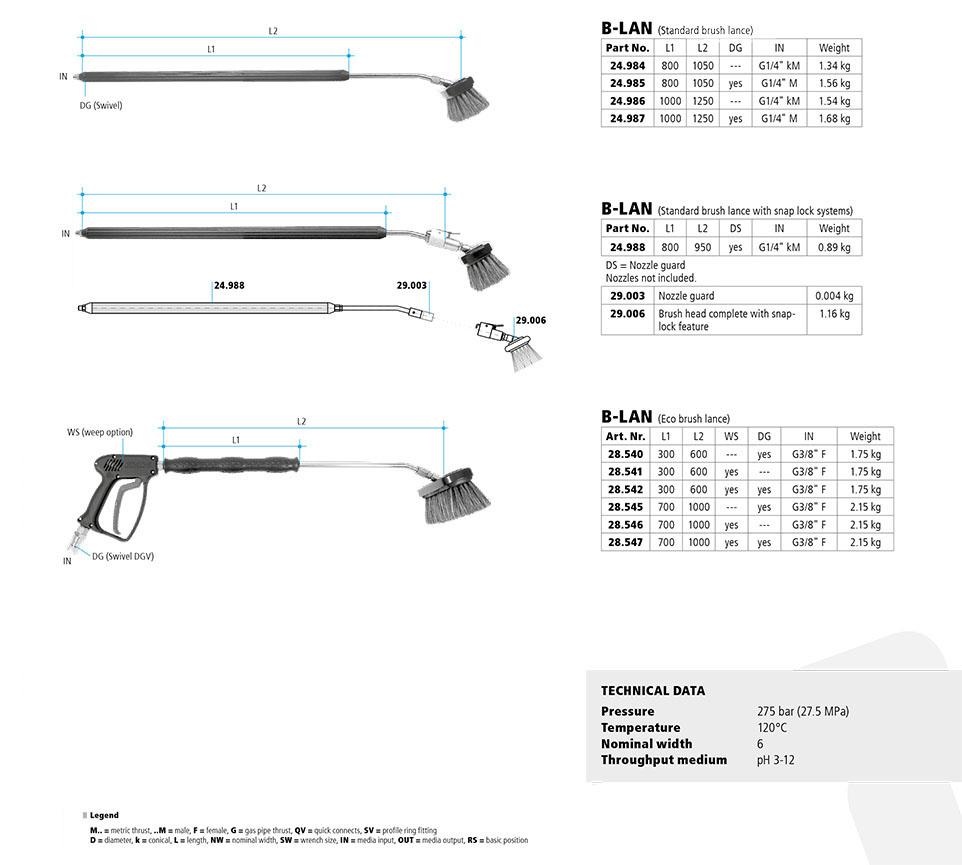 Car Wash Brush Lance B-LAN, Choose Standard, Snap lock or Eco gun lance