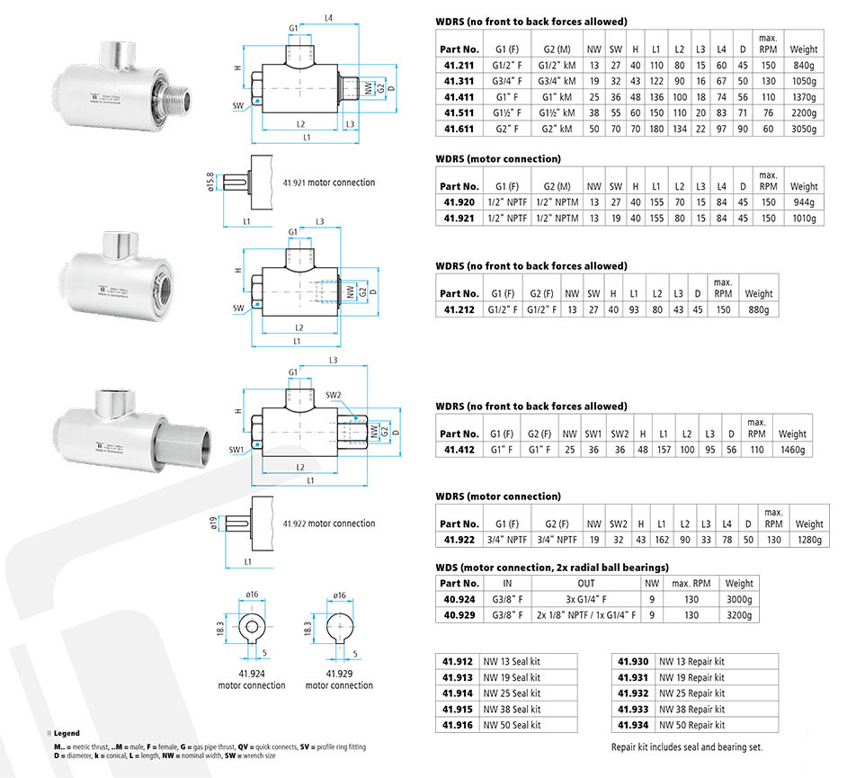 WDS Swivel (motor connection, 2x radial ball bearings) + Seal Kits ...