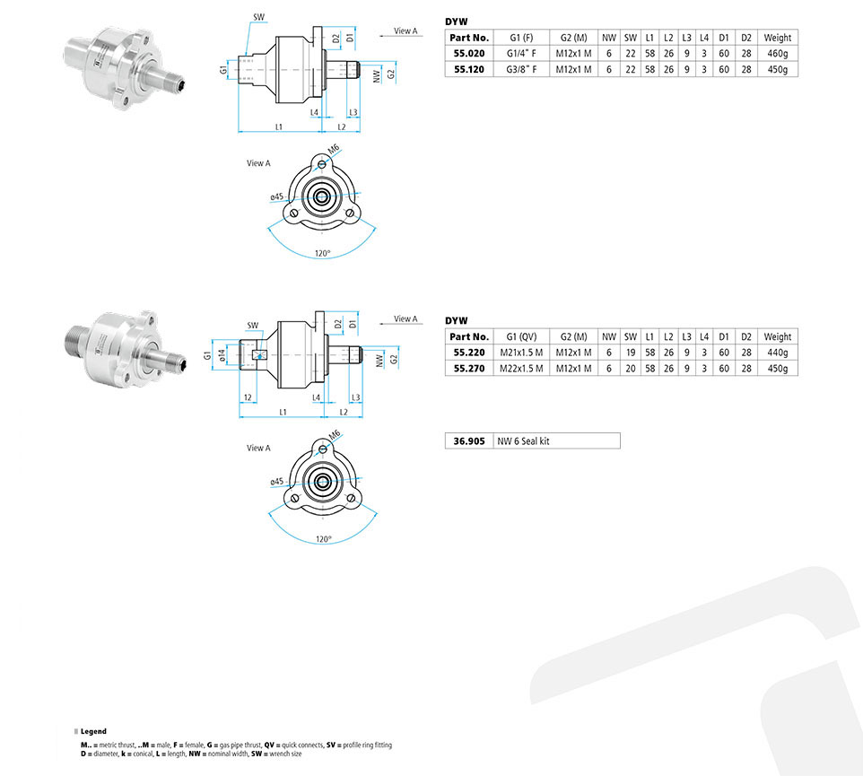 DYW Swivel Triple Bearing 350 Bar Carbide Seal / Stainless